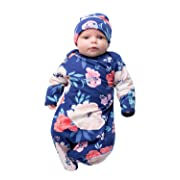 Baby Be Mine Newborn Gown and Hat Set Layette Romper Coming Home Outfit (Newborn, Annabelle)