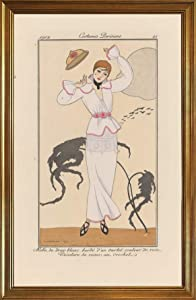 Berkin Arts Classic Framed George Barbier Giclee Canvas Print Paintings Poster Home Decor Reproduction(Linen Dress with Crochet Belt) #JK