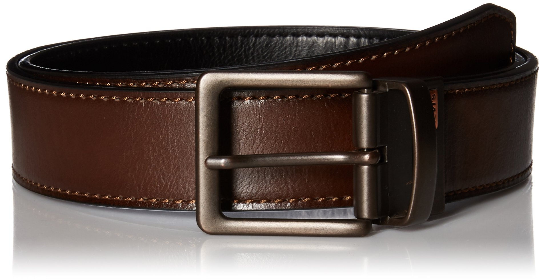 Levi's Men's Reversible Bridle Belt W/antique Finish Buckle,Brown/Black,38