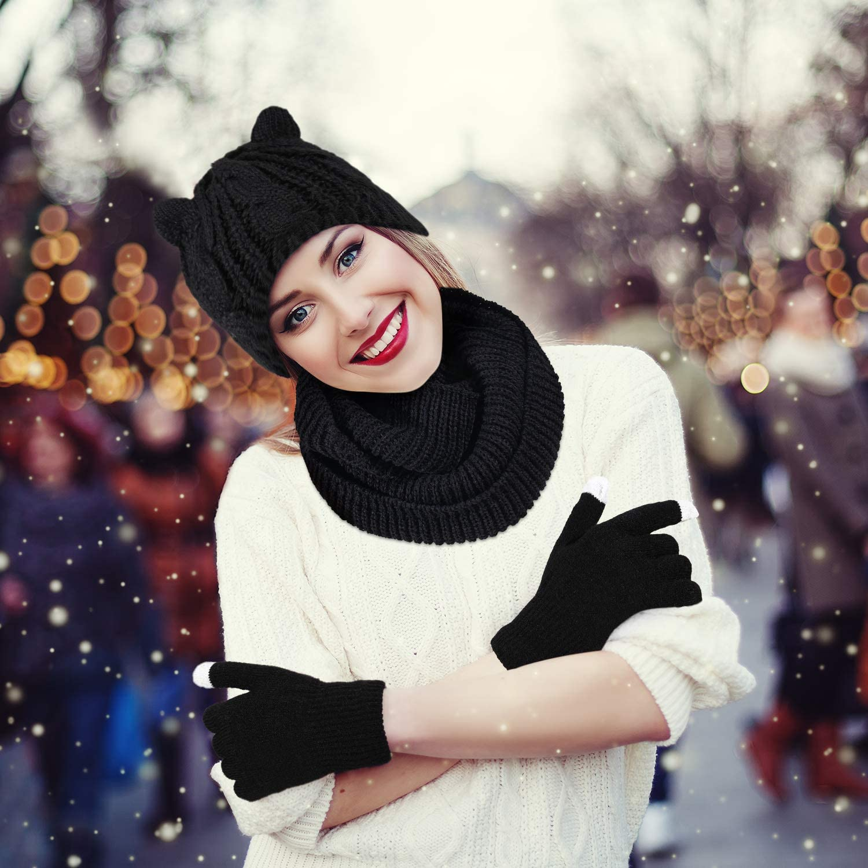 3 Pieces Winter Warm Set Cat Ear Beanie Hat Neck Warmer Scarf Touchscreen Gloves Black