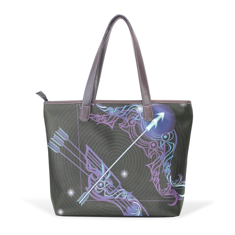 Womens Leather Tote Bag,Fantasy 12 Constellation Sagittarius,Large Handbag