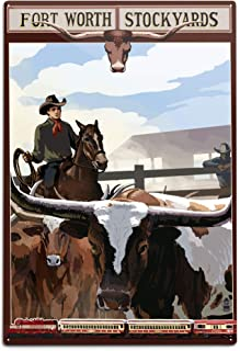 product image for Lantern Press Fort Worth, Texas, The Stock Yards (12x18 Aluminum Wall Sign, Wall Decor Ready to Hang)