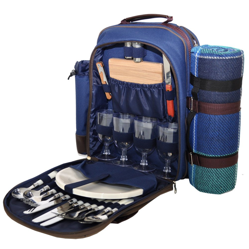 Blue 4 Person Picnic Hamper Backpack Roman at Home