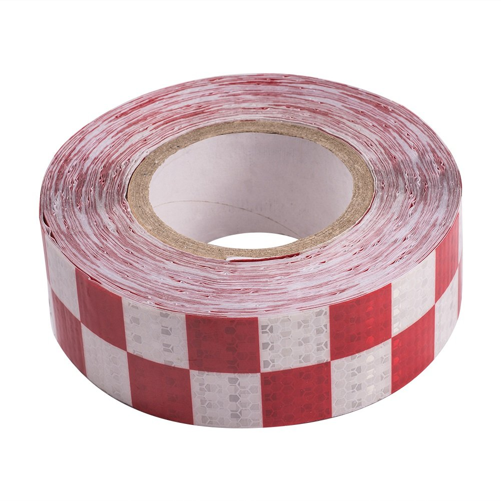 ATMOMO WHITE and RED Safety Reflective Warning Lighting Sticker Adhesive Tape Strip For Trailers Vehicles Trucks Cars 5CMx25M