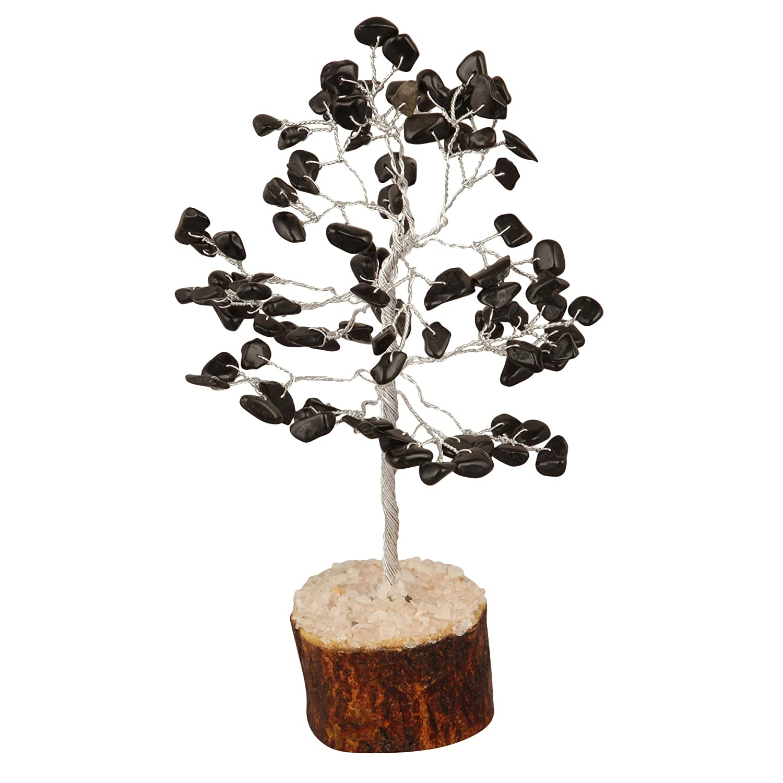 PYOR Black Tourmaline Reiki Healing Money Tree Feng Shui Bonsai Gemstone Crystal Aura Cleansing Home Decor Silver Wire 7-8 Inch