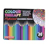 30PC Asst Colour Therapy Coloured Pencil Professional School Class Kids / Children ART Craft Design Pack Artist Quality in Tin Case