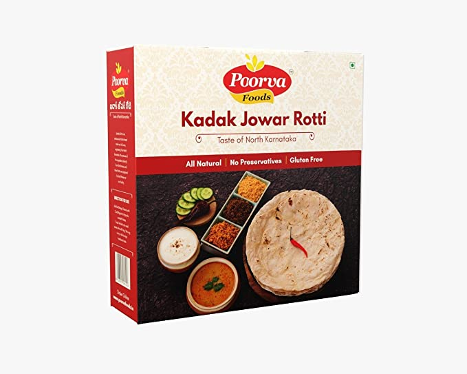 POORVA FOOD PRODUCTS Kadak/Crisp Jowar Roti 10 Pieces Box