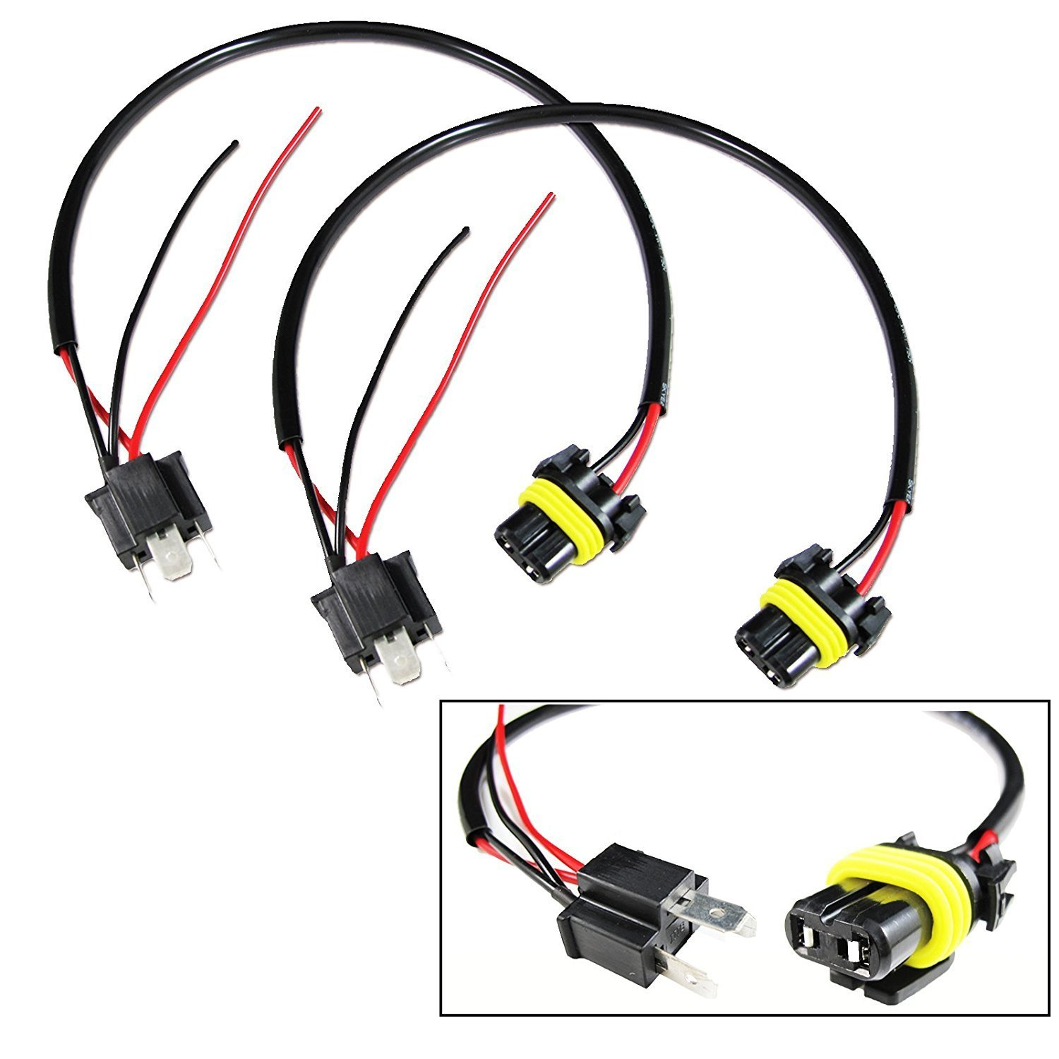 amazon com: 9006 to h4 conversion wires adapters headlight retrofit or hid  kit installation: automotive