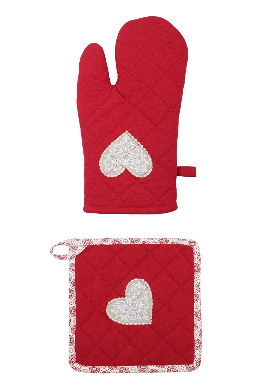 Lovely Casa Darla Guante/manopla algodón Rojo 20 x 30 cm: Amazon ...