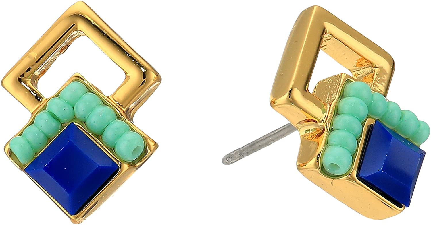 hot sell Rebecca Minkoff Womens Geo Double Drop Square Stud Earrings