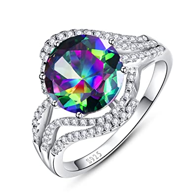 Bonlavie Solitaire 925 Sterling Silver Engagement Ring with 10*14mm Oval Cut Created Mystic Rainbow Topaz Crt3Wd1TdP