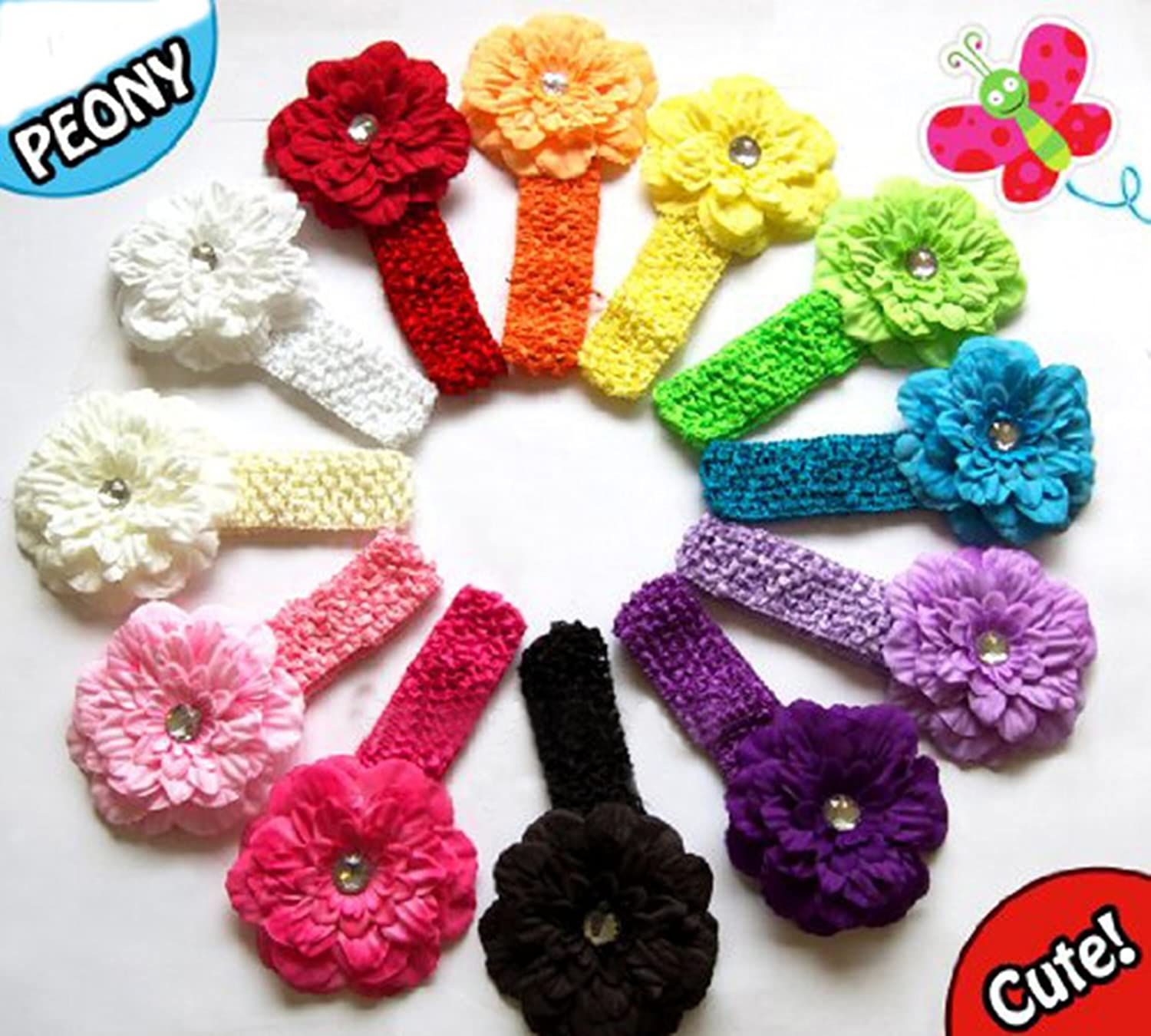 Beautiful baby hair accessories - Peony Flower Hair Clips With Crochet Headbands For Baby Toddler Youth Girls Amazon Co Uk Clothing