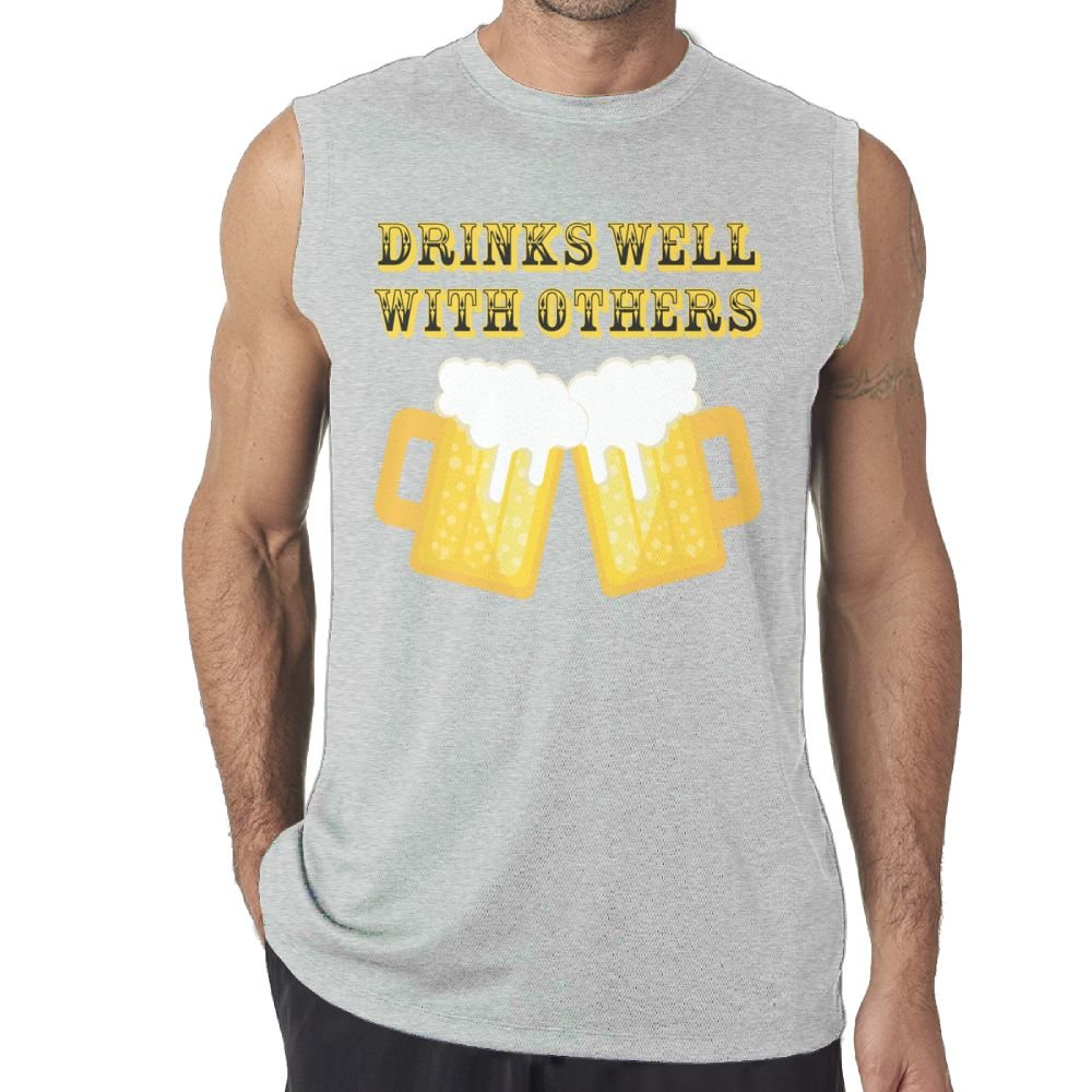 Tanks Top Sleeveless T-Shirt Fit Mens Drinks Well with Others 9 Muscle