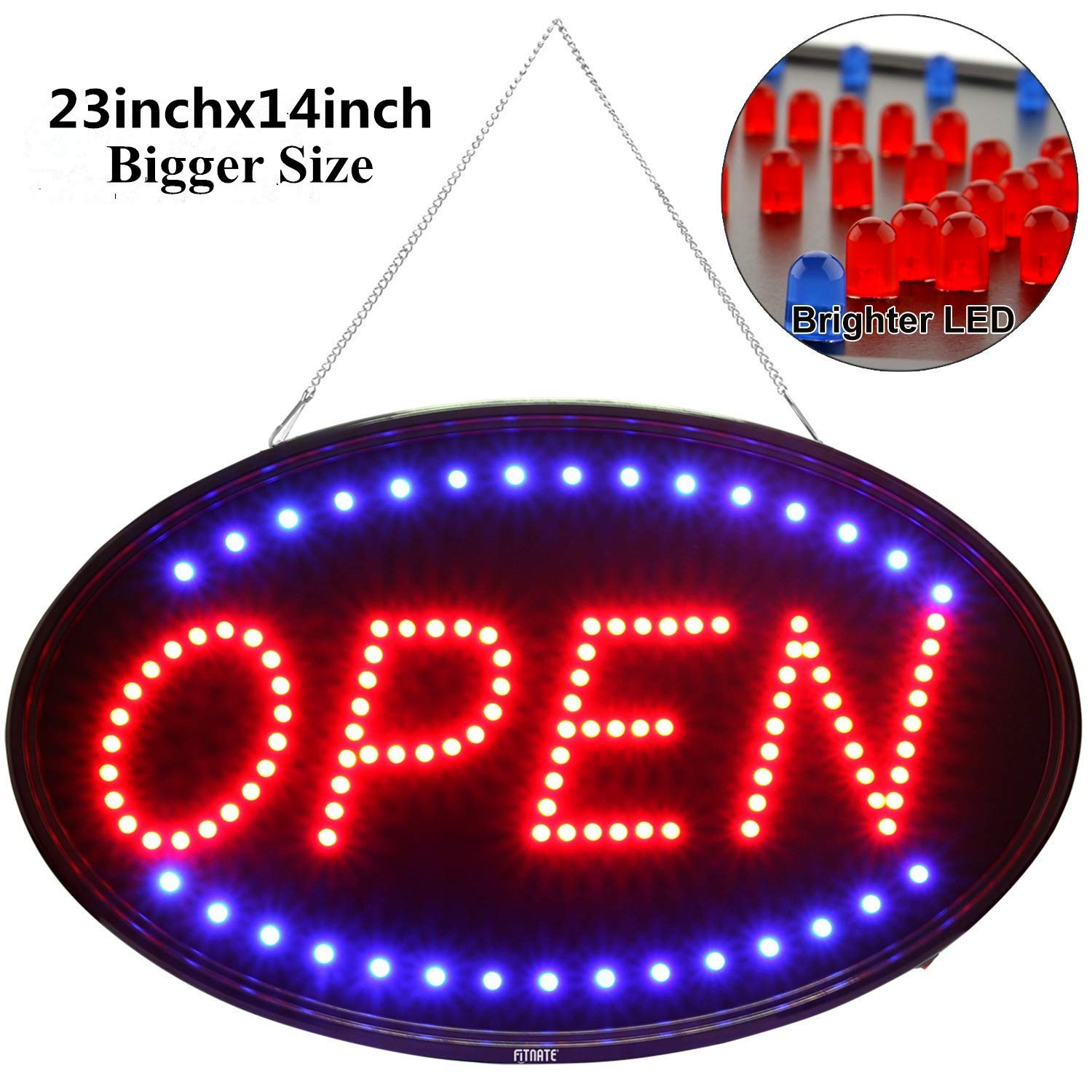 Fitnate Open Sign, 23x14inch Larger LED Business Sign, Advertisement Display Board, Two Modes Flashing & Steady Light,Super Bright F8 LED for Business, Walls, Window, Shop, bar, Hotel