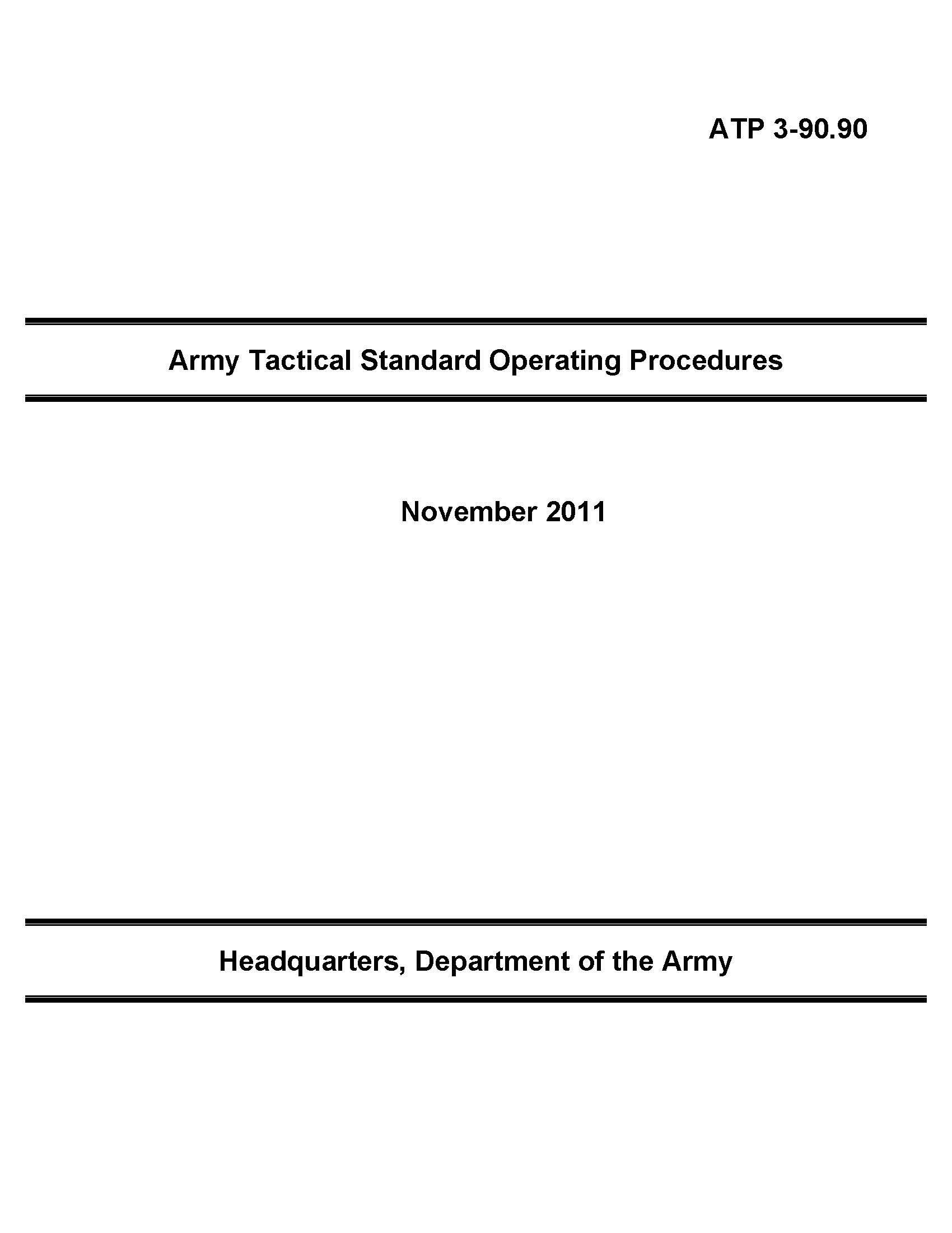 Download Army Tactical Standard Operating Procedures, ATP 3-90.90, November 2011 ebook