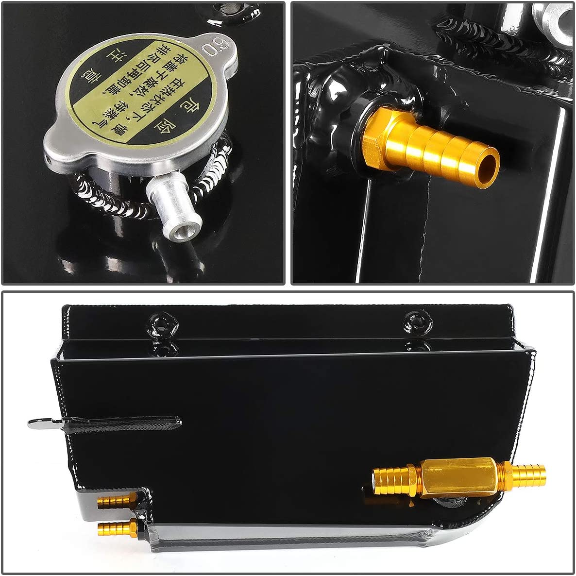 DNA Motoring CT-CCV97-BK Aluminum Coolant Expansion//Recovery Tank