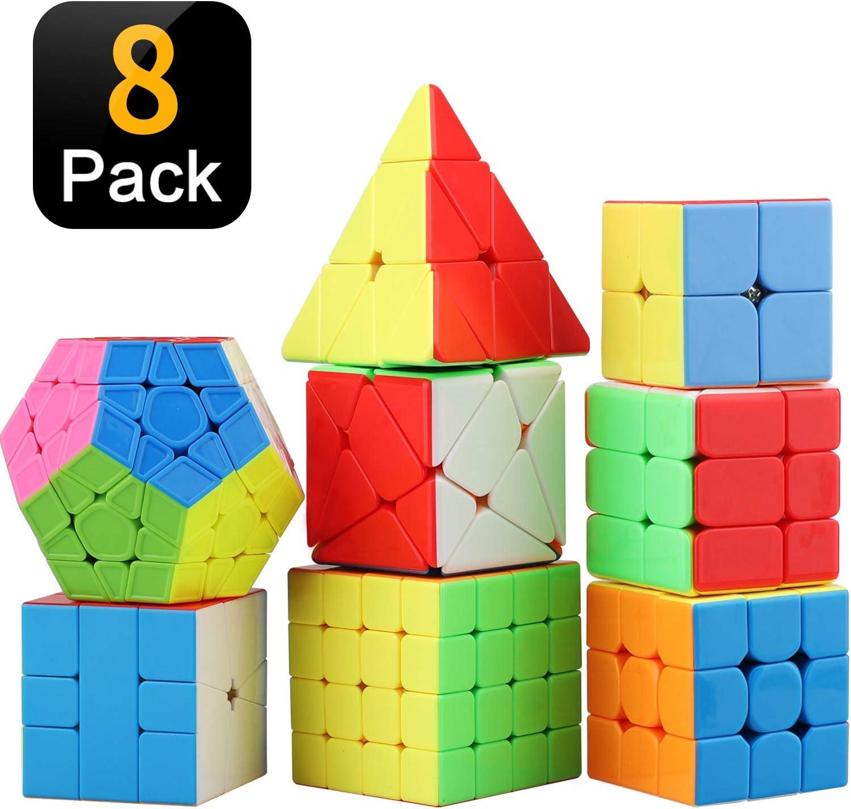 STEAM Life Educational Speed Cube Set 8 Pack Magic Cube   Includes Speed Cubes 3x3, 2x2 Speed Cube, Pyramid Cube, Plus Bonus Puzzle Cube Puzzles Bundle