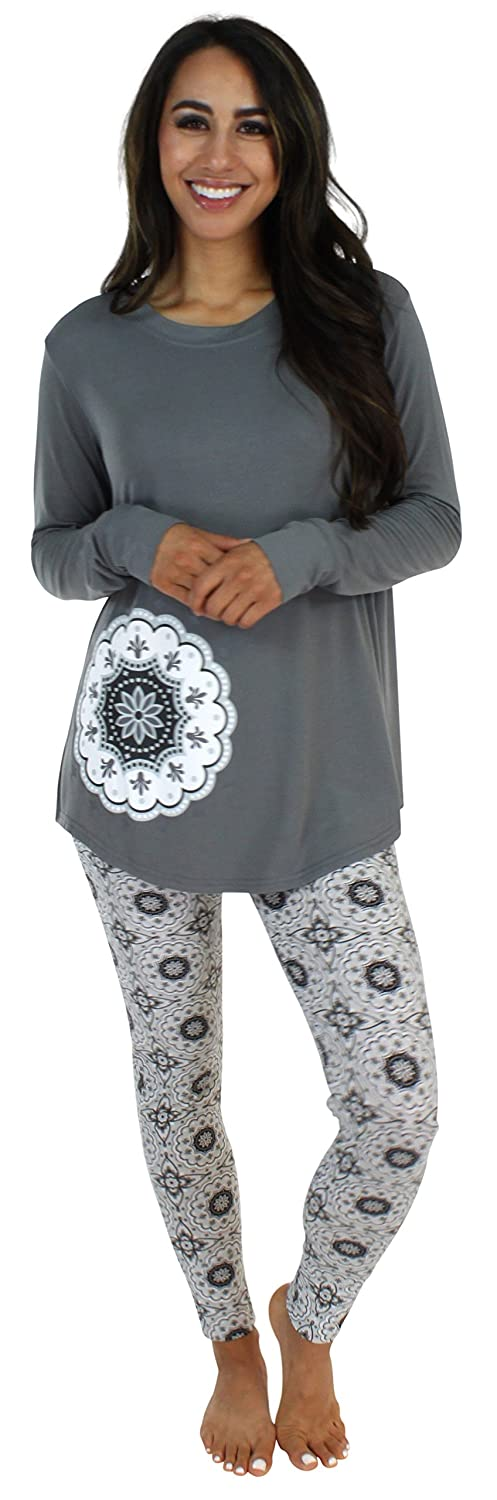 Sleepyheads Women's Sleepwear Knit Longsleeve Top and Leggings Pajamas PJ Set