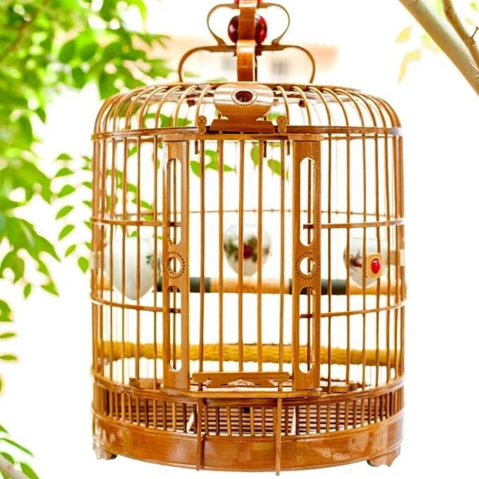 MC.PIG Jaula para pájaros de Tres Pieles de bambú, Jaula de pájaro de pájaro con Caracol, Jaula Hueca Tallada Hecha a Mano para pájaros