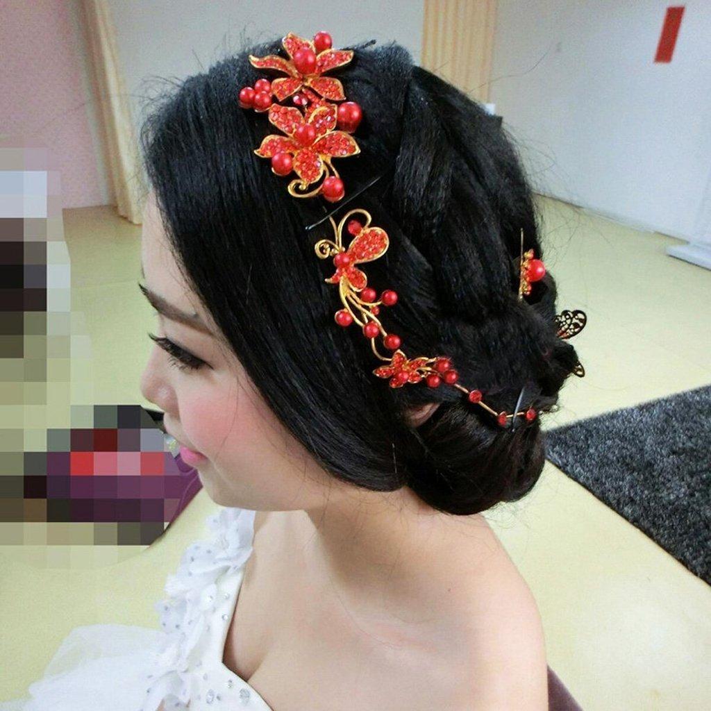 Bella-Vouge-1pcs Handmade Crystal Rhinestone+ Pearls Headdress Bridal Wedding hair accessories Headwear Headpiece Head Flower-NO.176 head-chain-176-red