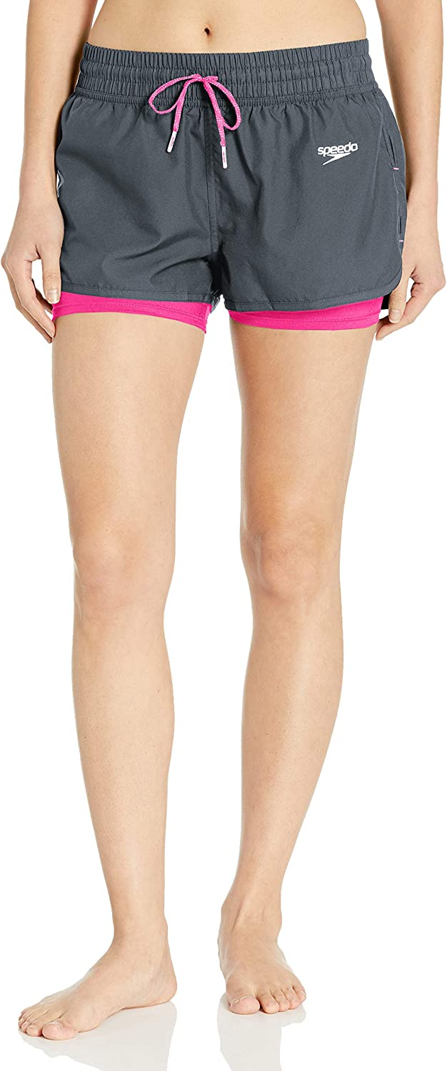 Speedo Womens Swimsuit Bottom Short Hydrovolley Built in Compression Solid Manufacturer Discontinued
