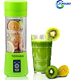 TOWABO USB Juicer Cup, Fruit Mixing Machine, Portable Personal Size Eletric Rechargeable Mixer, Blender, Water Bottle with USB Charger Cable Portable Juice Blender and Mixer, 380 mL
