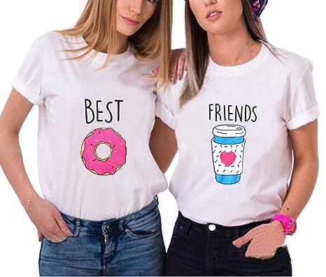 Best Friends T-shirt Mädchen Für 2 Sommer Shirt Damen Weiß Oberteil ...