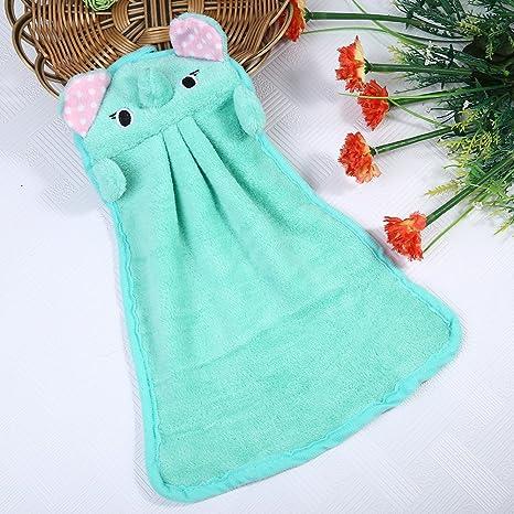 Dibujos animados toallas de mano de suave tela de peluche Cartoon Animal guardería para colgar limpiador