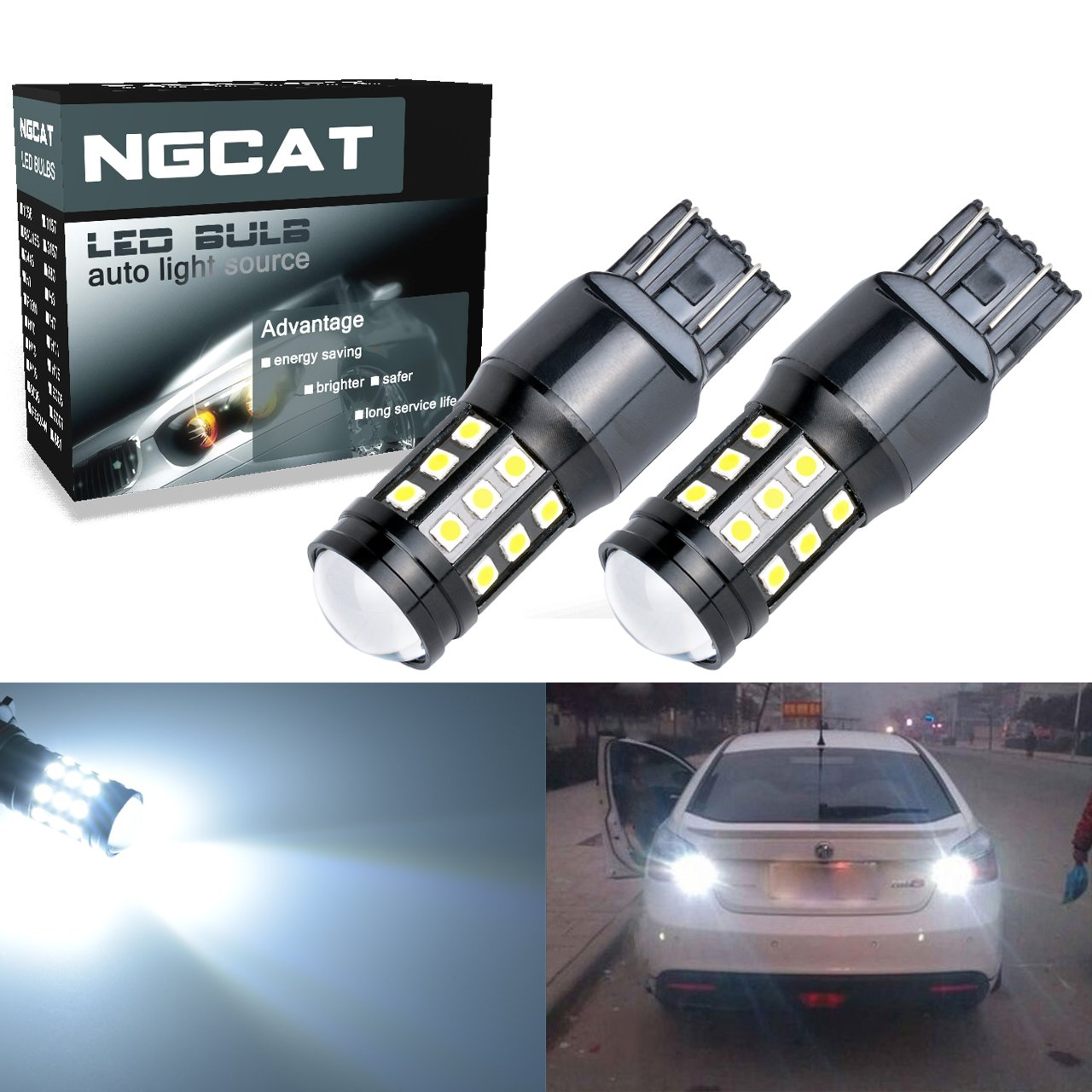 NGCAT Super Bright 2PCS 2700 Lumens 3030 27SMD 7443 7444NA 7440 7440NA 7441 992 Lens LED Brake Light Turn Signals Bulbs Reverse Tail Lights 12V-24V 6000K (White)
