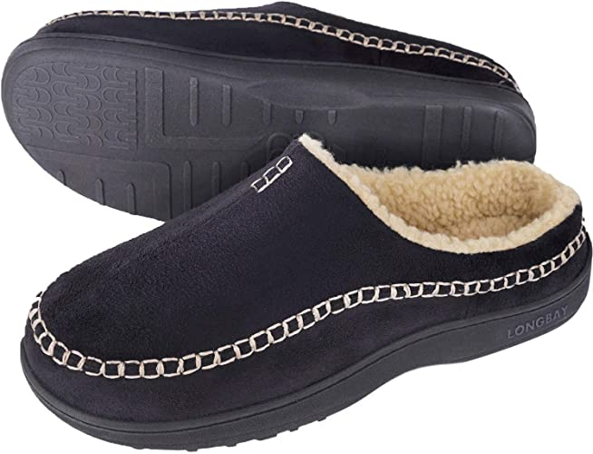 LongBay Mens Woolen Knitted Memory Foam House Slippers Fleece Clogs House Shoes for Indoor Outdoor Use