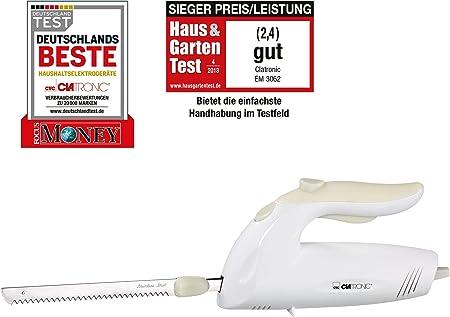 Clatronic EM 3062 Cuchillo Eléctrico Dentado, 180 W, Acero Inoxidable, Blanco