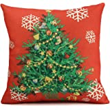 Homar Pillow Covers - Christmas Tree Decorative Throw Pillow Case - Washable Square Red Cotton Linen Pillowcase Standard Size 18 x 18 with Hidden Zipper Perfect for Couch Home Decorative