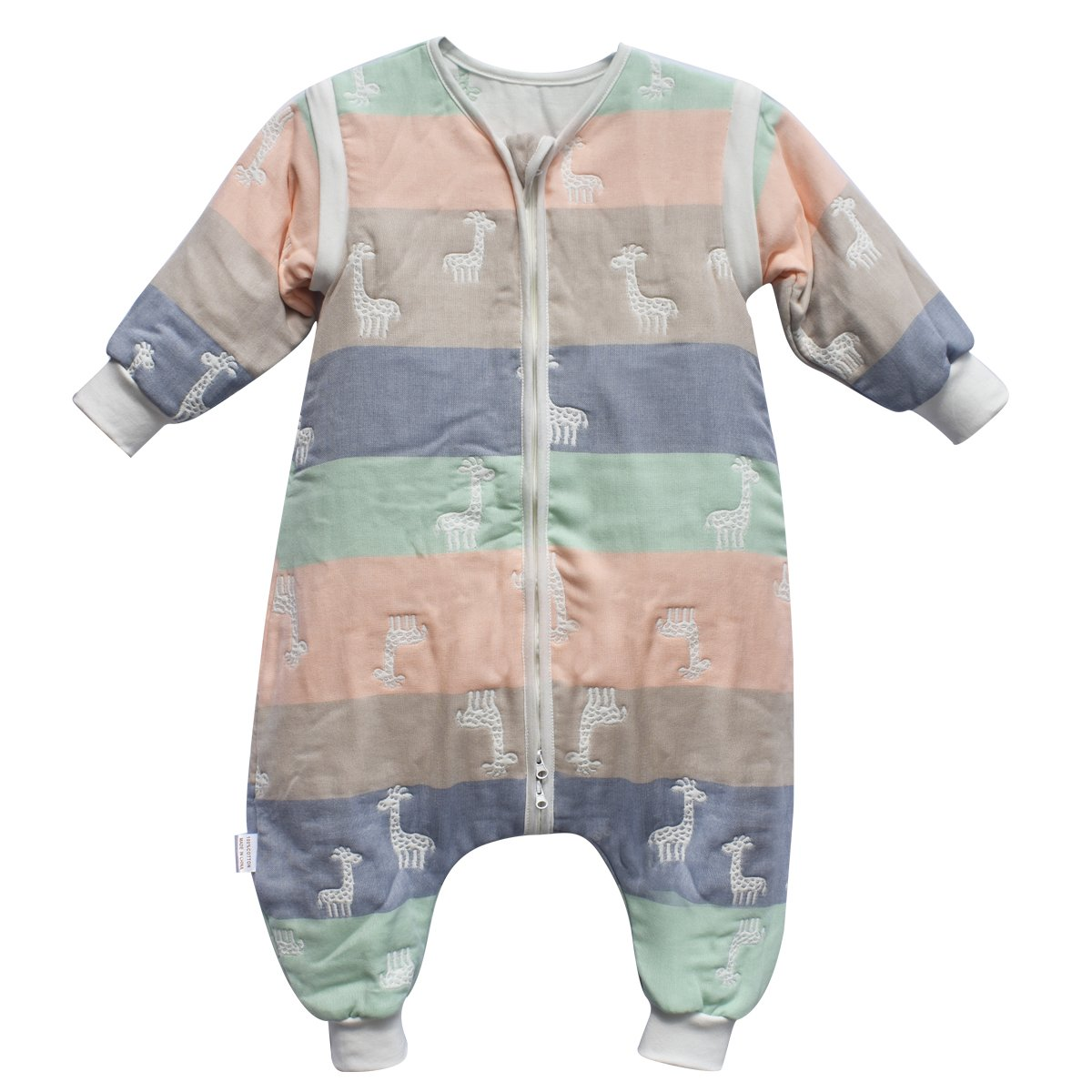 DaiShuGuaiGuai Baby Ganzjahres Schlafsack mit Füßen (Mehrfarbig) (Giraffe) (L 80-90CM) DSGG-6C-CJL