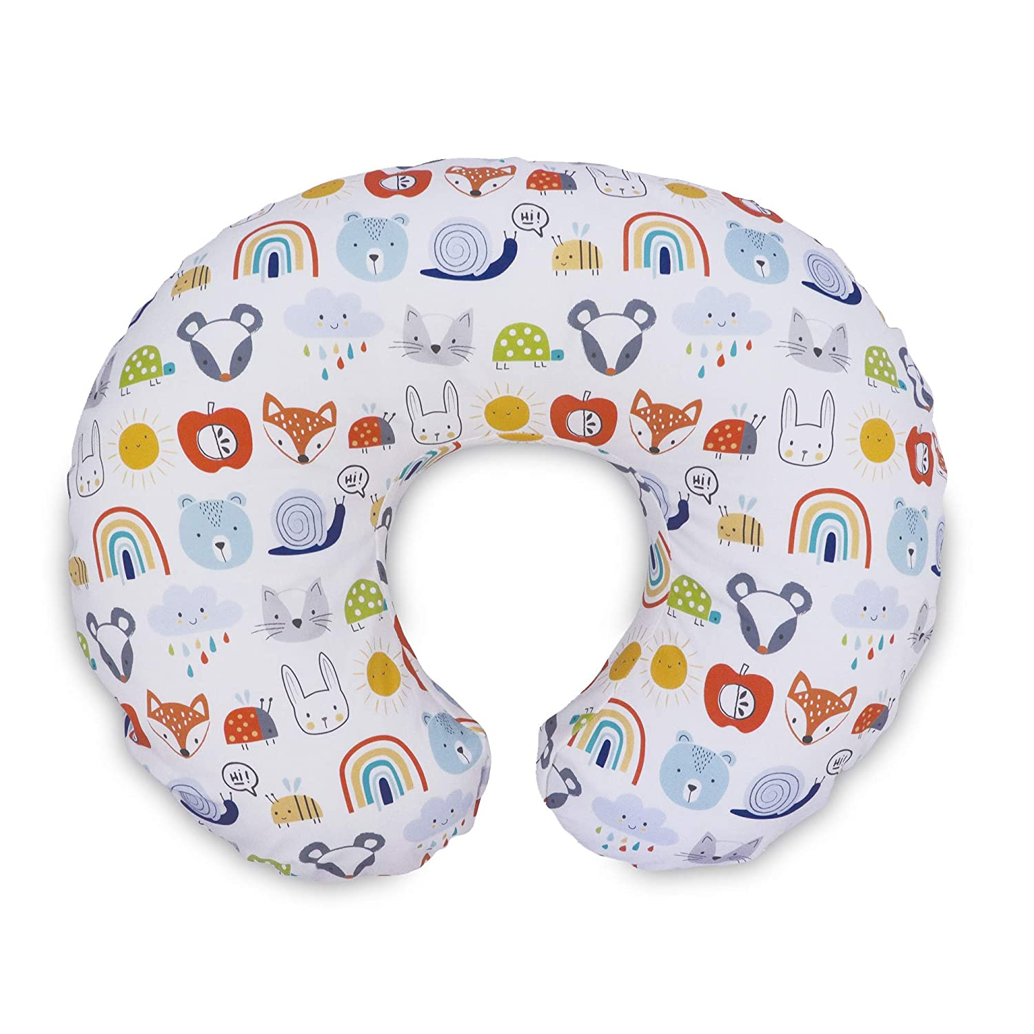 Boppy Original Pillow Cover, Colorful Animals & Rainbows, Cotton Blend Fabric with Allover Fashion, Fits All Nursing Pillows & Positioners, Multi