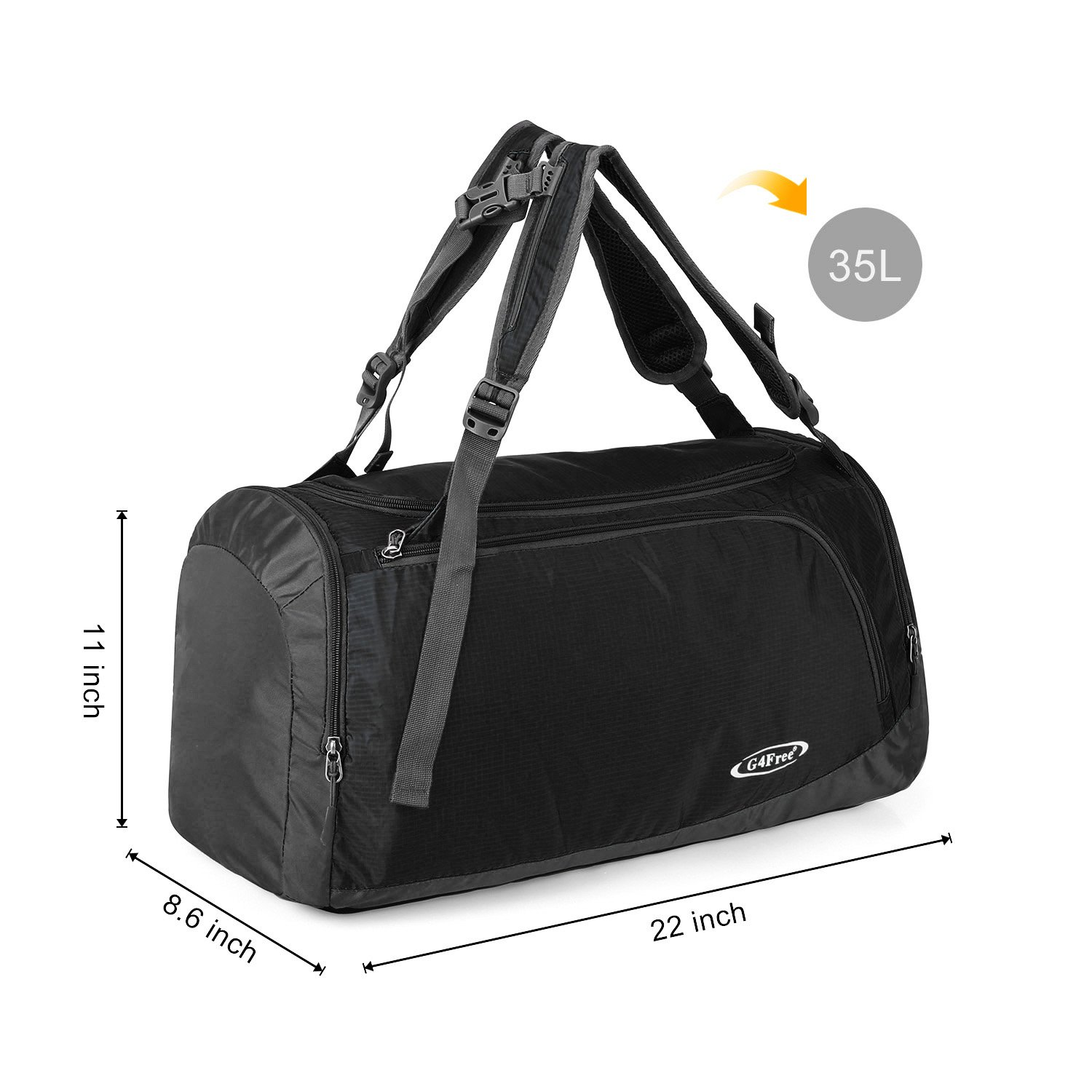 79c6bc5eb726 G4Free Lightweight Sports Bag Gym Bag Travel Duffel Backpack Weekend Bag  with Shoe Compartment  Amazon.co.uk  Sports   Outdoors