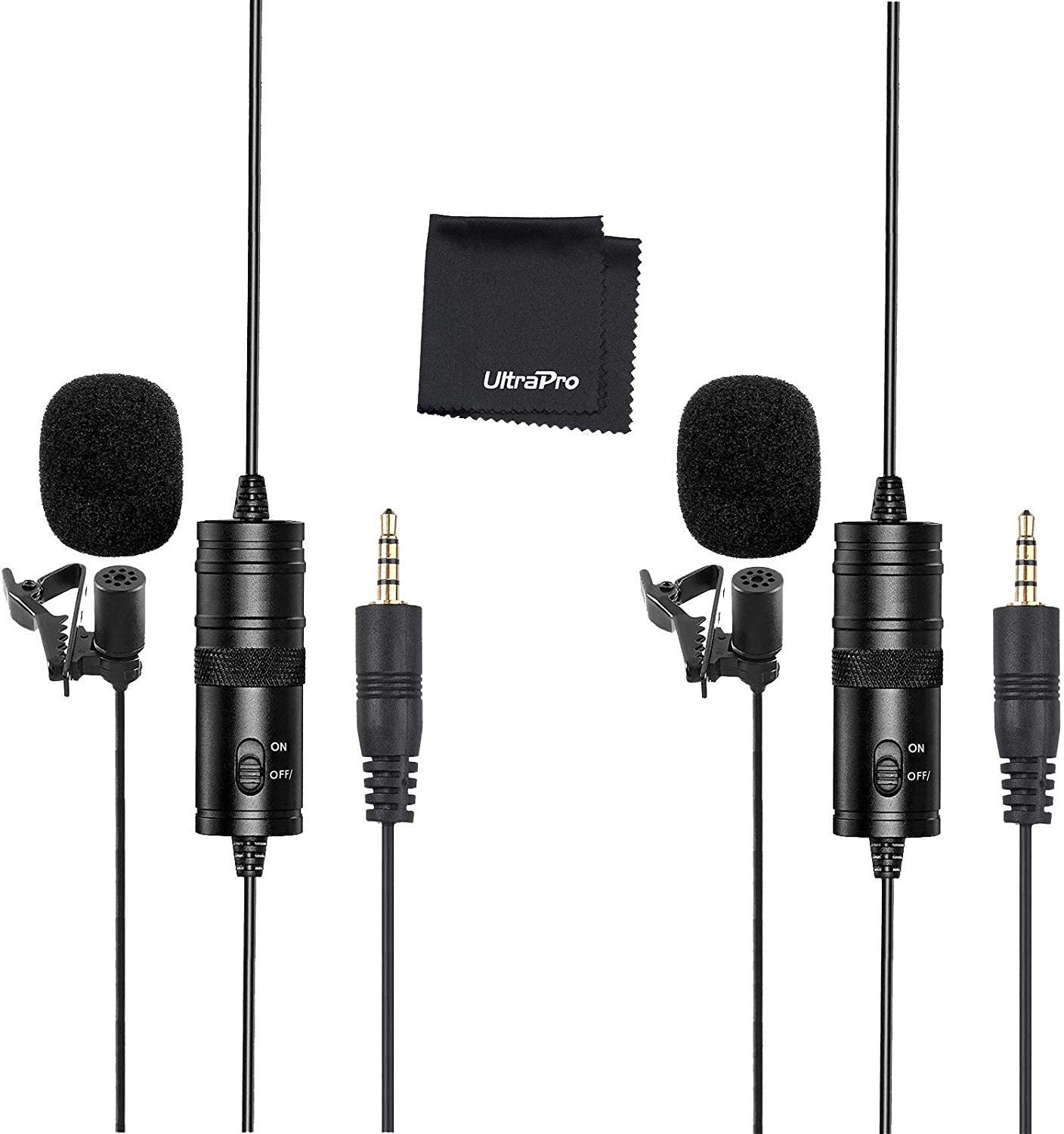 UltraPro Professional Lavalier Lapel Microphone w//20/' ft Audio Cable and More Omnidirectional Clip On Mic f//YouTube//Podcast Interview//Voice Dictation//ASMR//iPhone//Video Conference