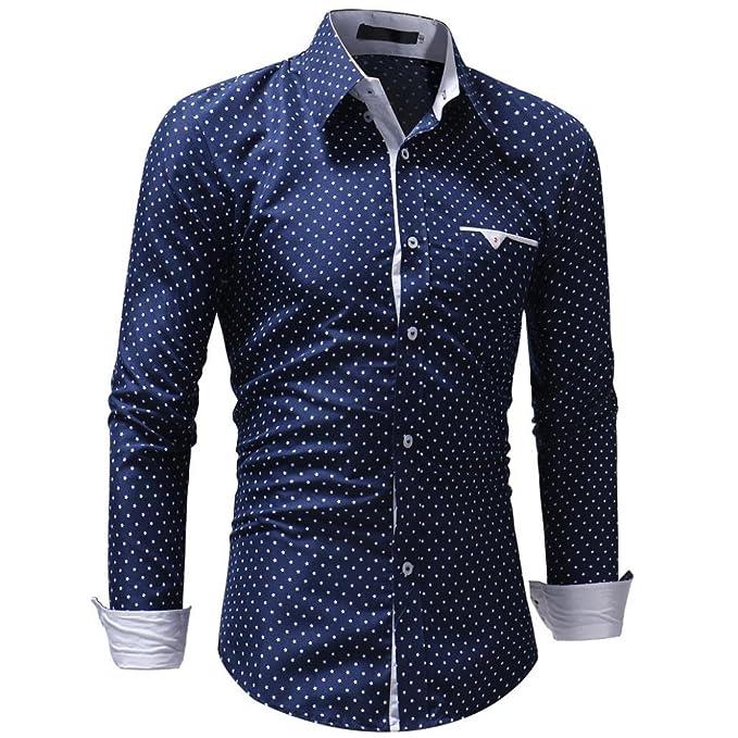 Sannysis Camisa de Hombre Moda Personalidad Manga Larga Clásico Básica Botón Formal Casual Camiseta para Hombre