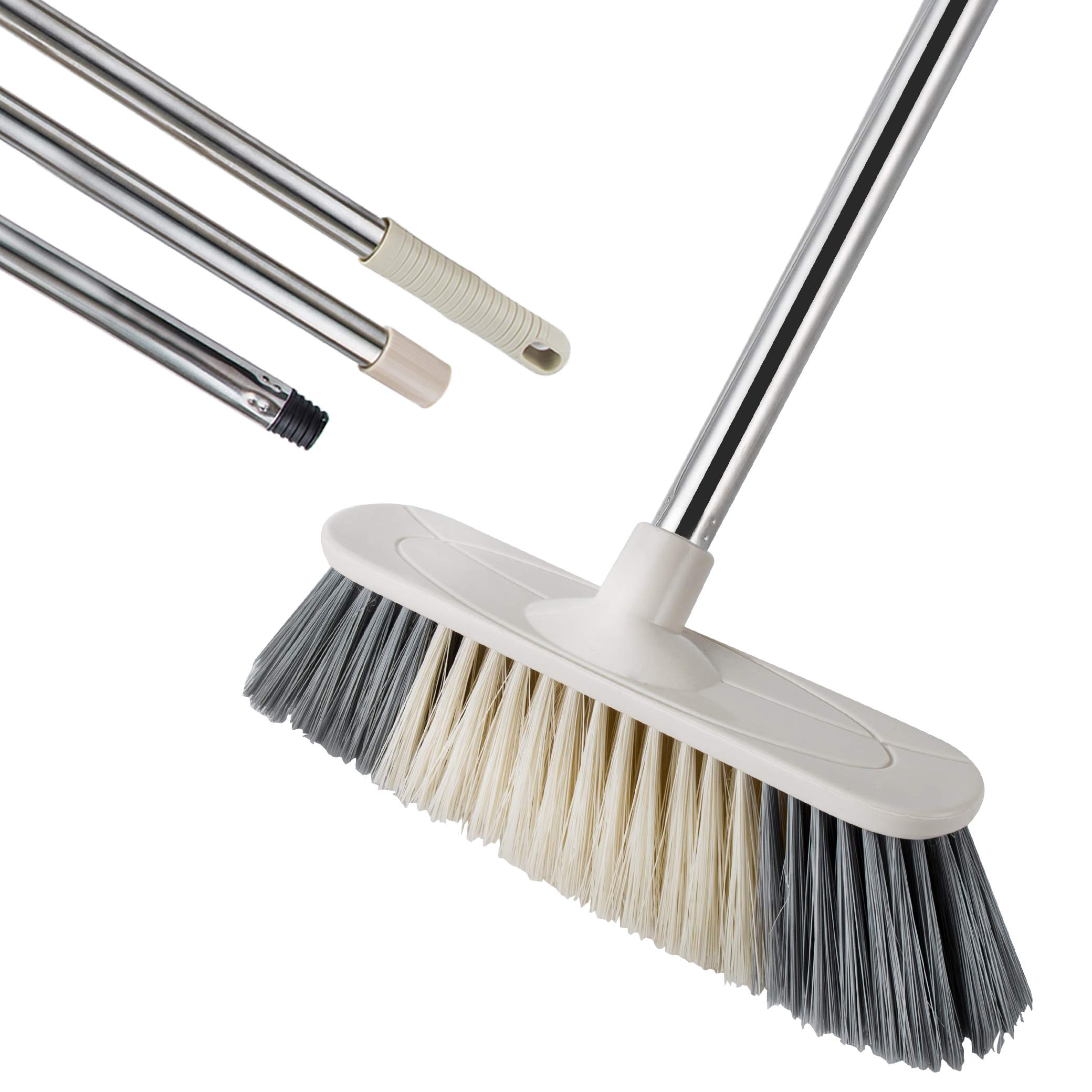 Soft Sweeping Broom, MEIBEI Multi-Surface Kitchen Broom with Stainless Steel Long Handle-50.5'', Soft Dusting Brush Ideal for Cleaning Home, Garage, Store and Office by MEIBEI