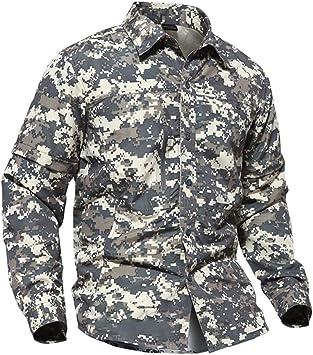 HRS - Camisa militar para hombre de secado rápido para caza, diseño de camuflaje: Amazon.es: Deportes y aire libre