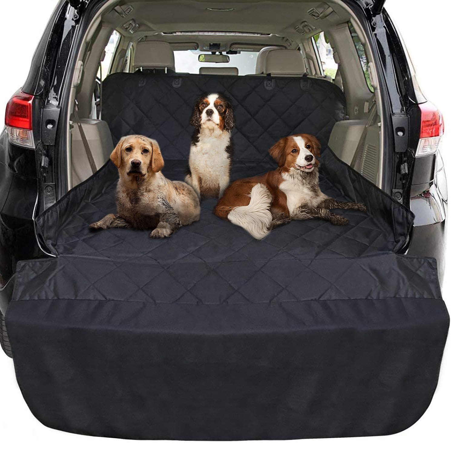 FunniPets Cargo Liner for Dogs SUV, Large Size Universal Fit, Waterproof, Non-Slip Backing, Predective Bumper Flap