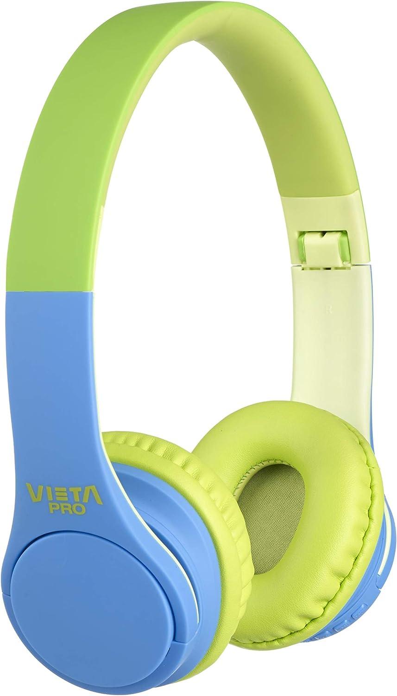 Vieta Pro Kids – Auriculares inalámbricos (Bluetooth, radio FM, micrófono integrado, entrada Auxiliar, reproductor Micro SD, plegables, autonomía 15 horas) verde y azul