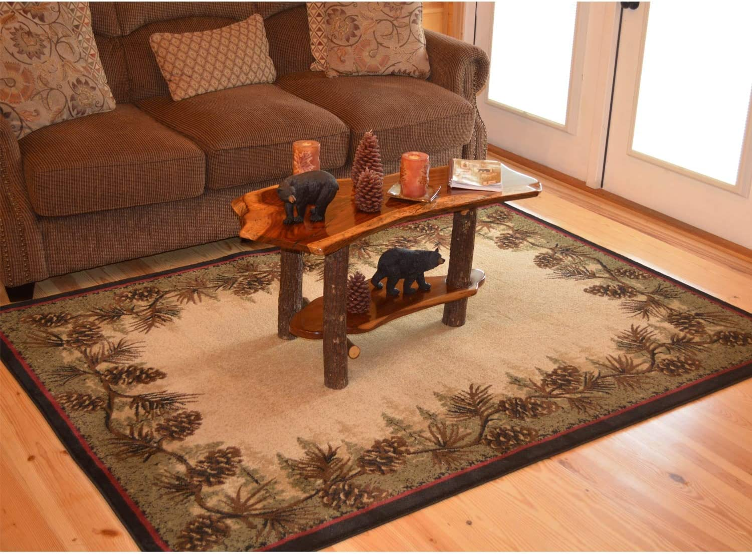 """Rustic Lodge Pine Cone Border Ivory Area Rug - Multi 2'3"""" X 3'3"""" Nature Cabin Rectangle Polypropylene Synthetic Contains Latex Stain Resistant"""