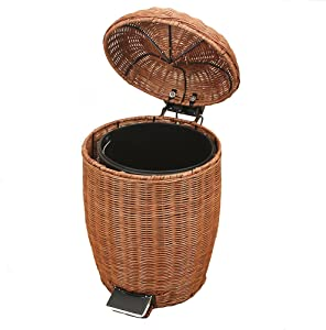 SANDM Step Trash can Waste Bins,Rattan & Wicker Trash can with lid Removable Retro Garbage can Trash can in Home & Kitchen Applicable to Office Bedroom Bathroom-Round-B