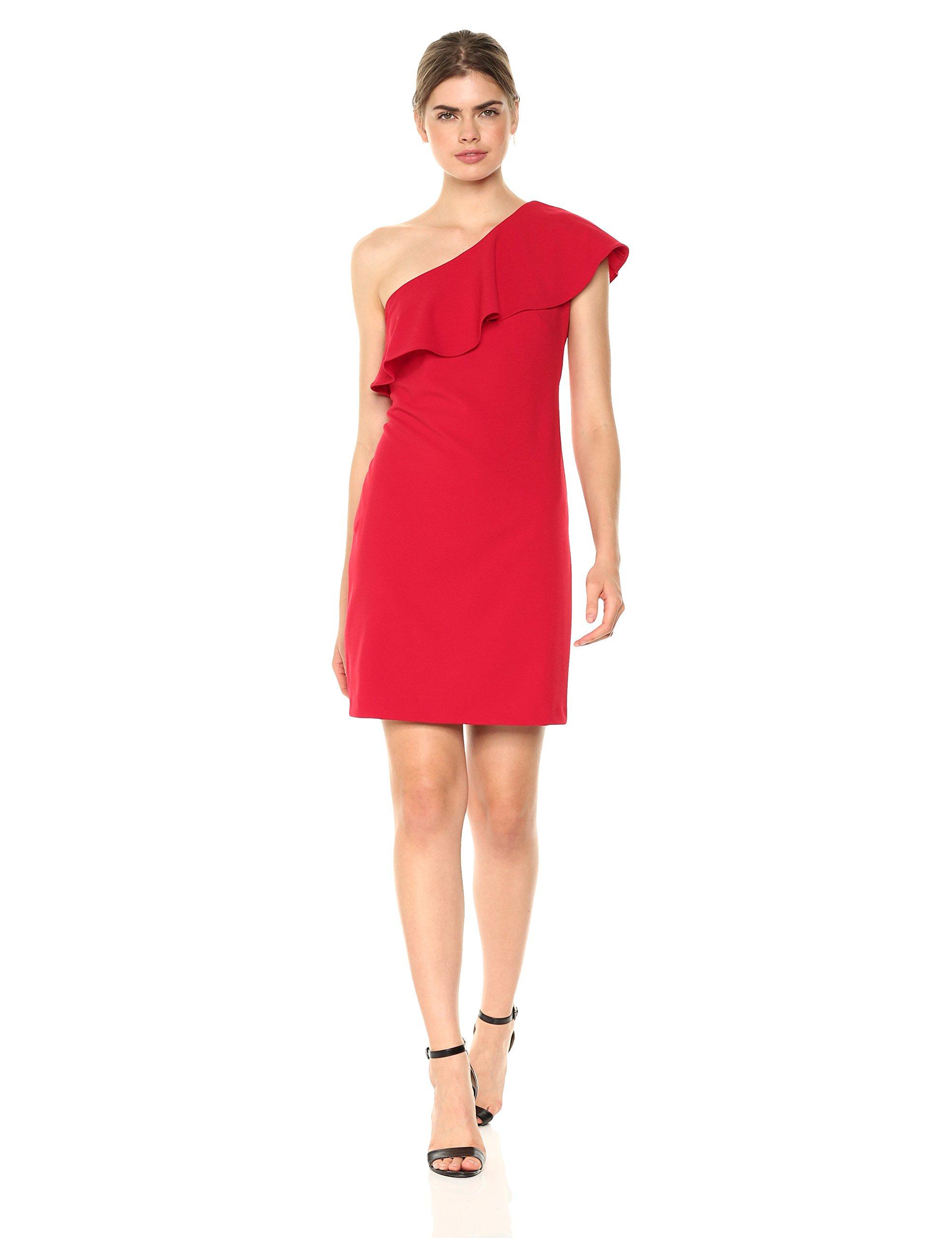Julia Jordan Women's One Shoulder Ruffle Dress, Red, 4