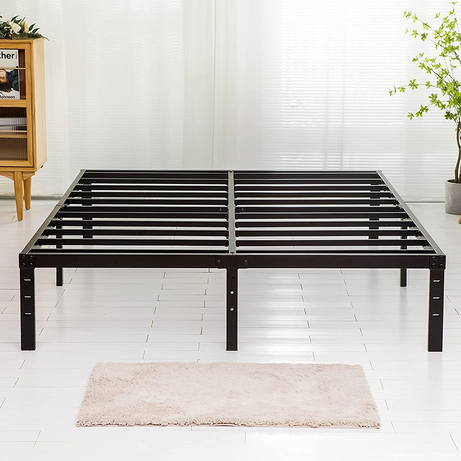 Wulanos Queen Size Bed Frame with Steel Slats Support, Sturdy and Durable, No Box Spring Needed, 14 Inch High 3500lbs Heavy Duty Metal Platform Frames with Storage, Noise-Free, Black