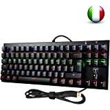 Tastiera Meccanica Gaming VTIN 87-tasti Layout Italiano Impermeabile Anti-Ghosting 6 LED Retroilluminata Blue Switch Compatibile con Windows 7/8/10/XP, Estrattore per Tasti per Giocatori e Dattilografi, Nero