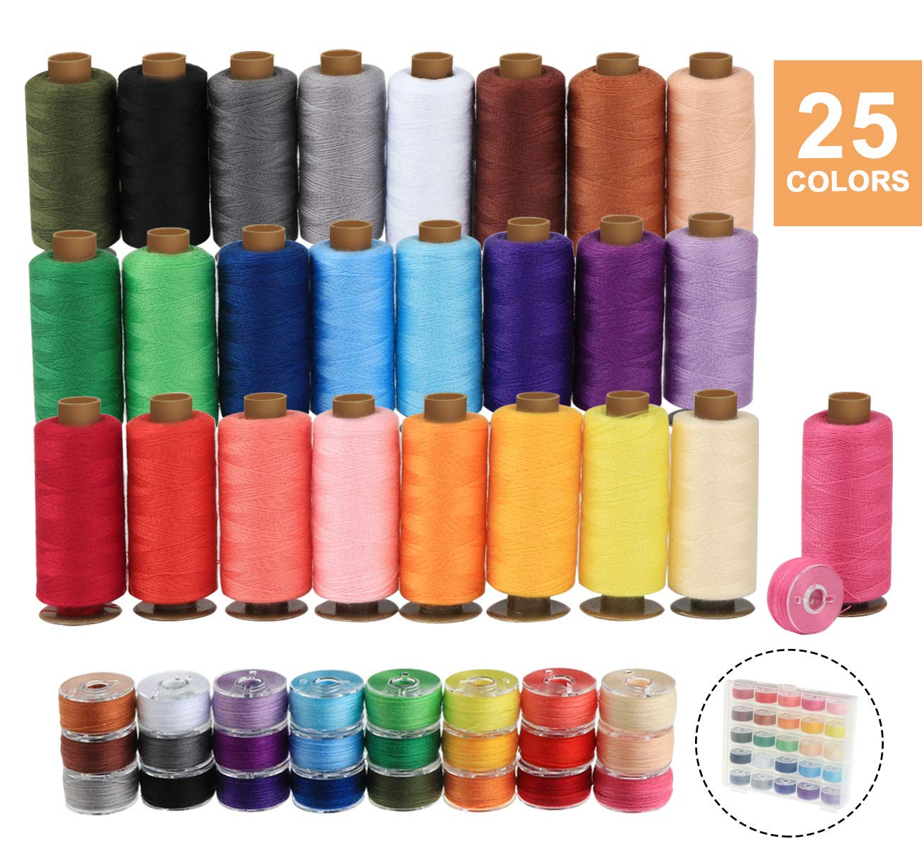ilauke 50Pcs Bobbins Sewing Threads Kit, 400 Yards per Polyester Thread Spools, Prewound Bobbin with Case for Brother Singer Janome Machine, 25 Colors by ilauke