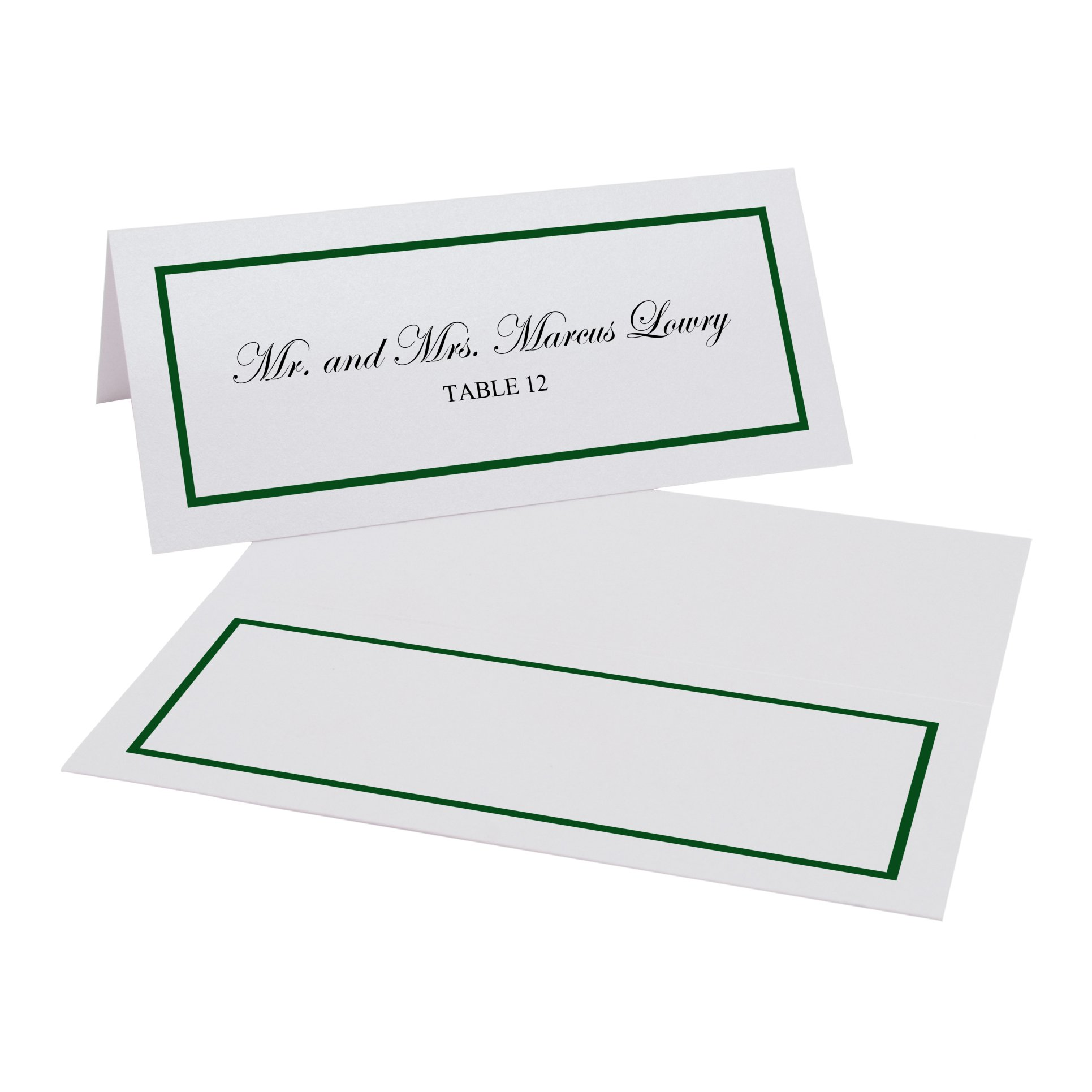 Single Line Border Easy Print Place Cards, Pearl White, Hunter Green, Set of 400 (100 Sheets) by Documents and Designs
