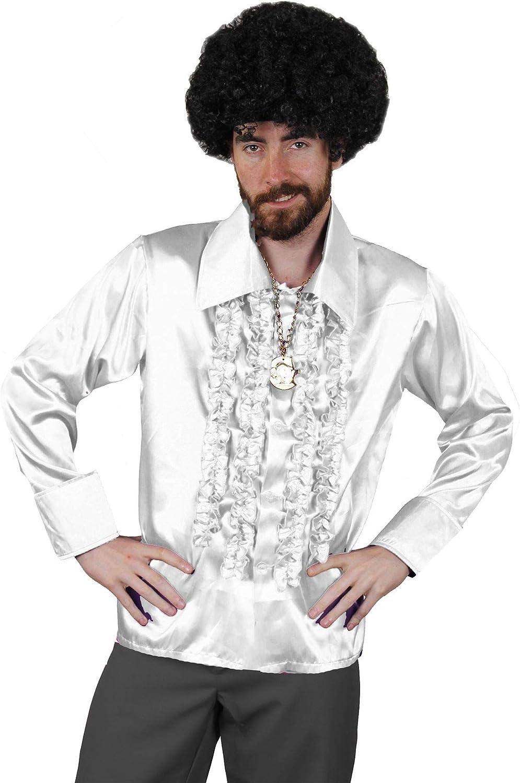 Camisa DE Disco Blanca para Adulto Estilo AÑOS 70S Fiestas TEMATICAS O Carnaval (M): Amazon.es: Juguetes y juegos