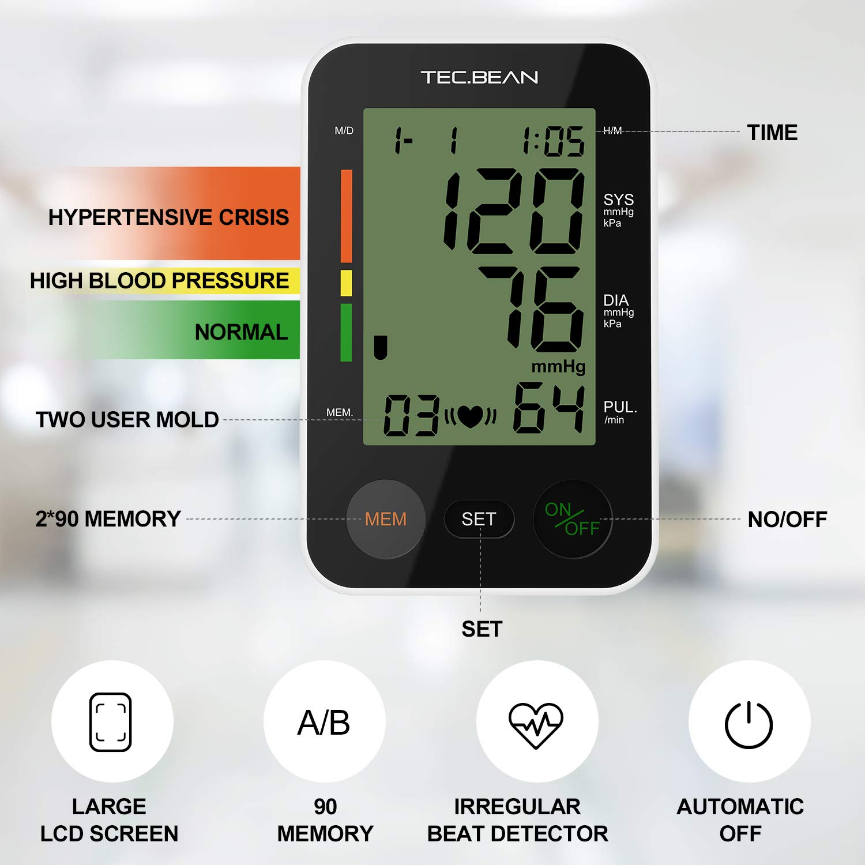 TEC.BEAN Tensiómetro de Brazo Monitor de presión arterial digital automático para el brazo superior con detección y almacenamiento de frecuencia ...